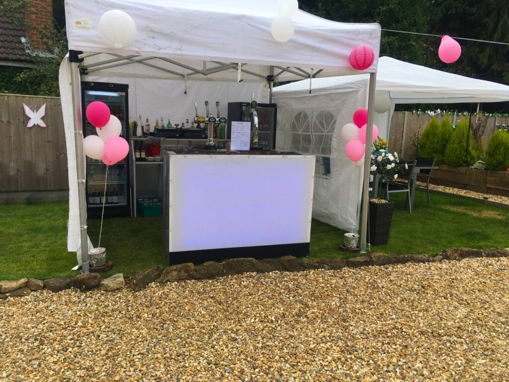 Outdoor bar hire set up from Midlands Bar Hire
